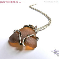 ON SALE Sea Glass Necklace - wire wrapped seaglass from Hawaii, two toned Hawaiian jewelry by Mermaid Tears