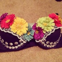 edc rave bra custom push up 34b sexy cute summer