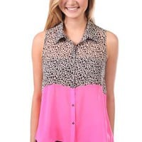 animal print button up tank top with solid neon bottom - debshops.com