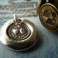 Together Forever Wax Seal Necklace. Fine Silver Petite Mini Victorian Heart Pendant. Wax Seal Jewelry