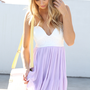 Purple Chiffon Dress with White Bodice Top &amp; Pleated Skirt