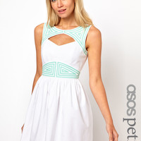 ASOS PETITE Exclusive Skater Dress With Cut Out Back And Contrast Trim