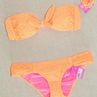 New Victoria's Secret Gorgeous Crochet Bandeau Orange Bikini Swimsuit XS