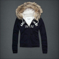 NEW WOMENS ABERCROMBIE &amp; FITCH SHERPA LINED HOODIE SIZE EXTRA SMALL - NWT