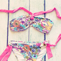 Field Of Wild Flowers Coral Bikini Set