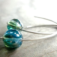My Blue Heaven Blue Czech Glass Bead Earrings by Beazuness