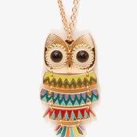 Linked Owl Pendant Necklace | FOREVER 21 - 1039327956