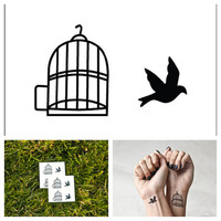Bird in a Cage - temporary tattoo (Set of 4)