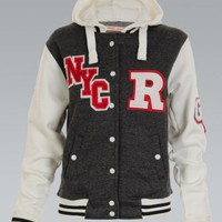 Charcoal NYC Varsity Hooded Jacket
