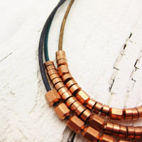 Copper & Leather Bohemian Statement Necklace / Multiple by byjodi