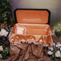 Deluxe Pet Casket- Black with Gold Bedding and Upholstery