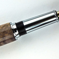 Handcrafted Wooden Pen Hand Turned Stabilized and Dyed Lavender Blond Buckeye Burl and Chrome Hardware 409S