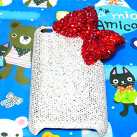 Bling Crystal Rhinestones Red Bow Ribbon Back Case by jason118