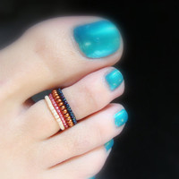 Cocktail Party - Copper- Pink - Frosted Apricot - Dark Blue- Stretch Bead Toe Rings