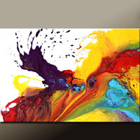 Abstract Canvas Art Painting 36x24 Original Modern Contemporary Paintings by Destiny Womack - dWo - Dance of The Rainbow