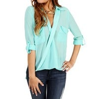 Mint Sheer Long Sleeve Top
