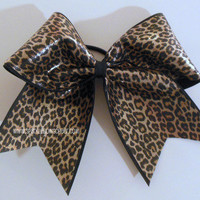 Hologram Brown Cheetah Mini Childrens Cheer Bow Hair Bow Cheerleading