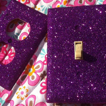 Violet Purple Glitter Switchplate / Outlet Set
