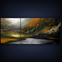 art abstract tree painting landscape painting bird rainbow cloud fantasy  66 x 28 Mattsart
