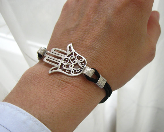Hamsa Bracelet Hand of Fatima with satin black by silkandsilver