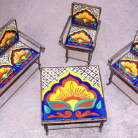 Miniature furniture set of 4 handmade with metal work and Talavera tiles home decor kids room toy