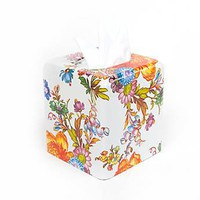 MacKenzie-Childs - Flower Market Enamel Tissue Box Cover - White