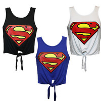 SUPERMAN SEXY CROP TIE TOP.
