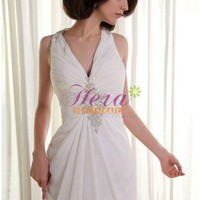 Delicate Halter Deep V-neckline Applique Ivory Chiffon Wedding Dress