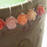 Girls Earrings, Girls Flower Earrings, Rose Earrings, French Hook Flower Earrings