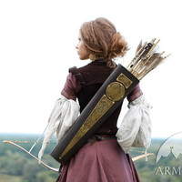 "Womens Archery Quiver Leather Bowman ""Archeress"" series etched brass"