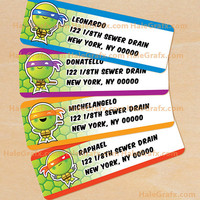 Teenage Mutant Ninja Turtles Inspired Address Labels Printable, DIY File