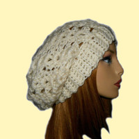 Slouchy Hat Beanie Crochet White Cream Spring Fashion