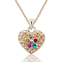 Gold rhinestone love necklace
