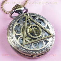 Harry Potter Deathly Hollows Pocket Watch by tonightstar on Etsy