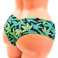 Pot Weed Marijuana Print Ultra Cheeky Booty Shorts