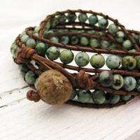 African Turquoise Leather 4x Wrap Bracelet / bohemian by byjodi