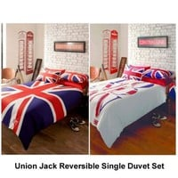 Union Jack &amp; London Reversible Single Duvet Set