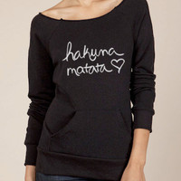 Hakuna Matata Eco Fleece Raw Edge Neck Sweatshirt in Black