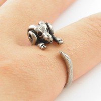 Silver Ram - Animal Wrap Ring - Aries The Ram