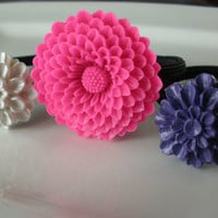 Feminine Hot Pink Purple White flower hair band hair accessories set of 3 ponytail holders elastics lot pink