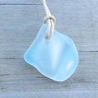 Sea Glass  Beach  Surfer Necklace Frosted Aqua