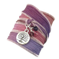 Silk Ribbon Bracelet with Tree of by charmeddesign1012