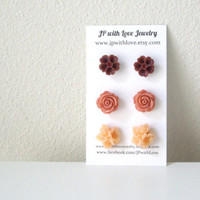 Flower Stud earrings peach Stud earrings cinnamon by JPwithLove