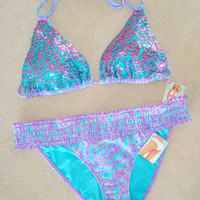 New Victoria's Secret Bling Sequin Embellished Tie Dye Bikini Swimsuit M
