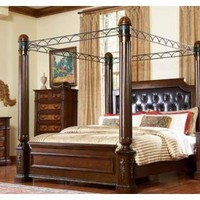 Queen Canopy Bed in Eastern King &amp; California King of Bermingham Collection by Homelegance