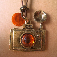 Brown Camera Charm Pendant by Bitsofbling on Etsy