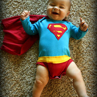 Baby Superman with Built-in Cape and Underwear