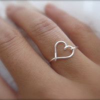 Gift Silver Heart Ring by DesignedByLei on Etsy
