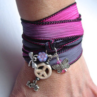 Hand Dyed Silk Wrap Bracelet with Peace sign, Love, Butterfly and Dragonfly charms,  also can be worn as a necklace