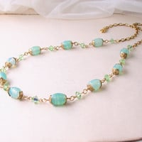 Aqua Mint spring necklace with vintage Japanese by shadowjewels